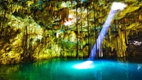 stalactite water pool light nature